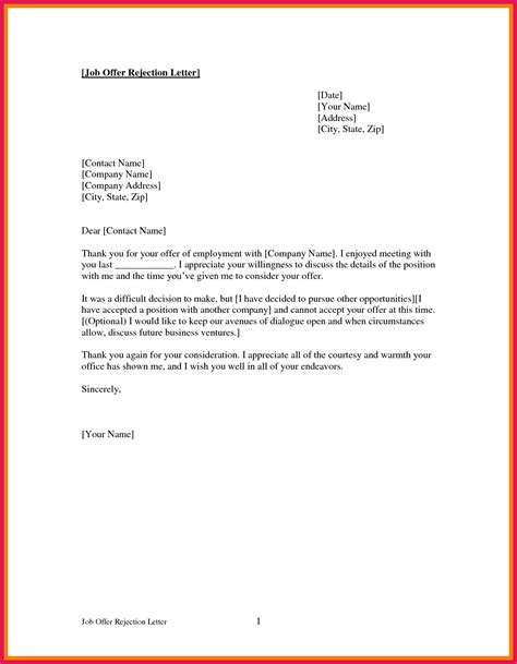 declining  job offer letter sop examples