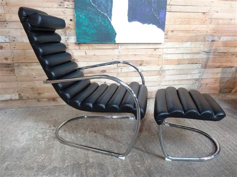 Italian Tubular Black Leather Lounge Chair With Ottoman