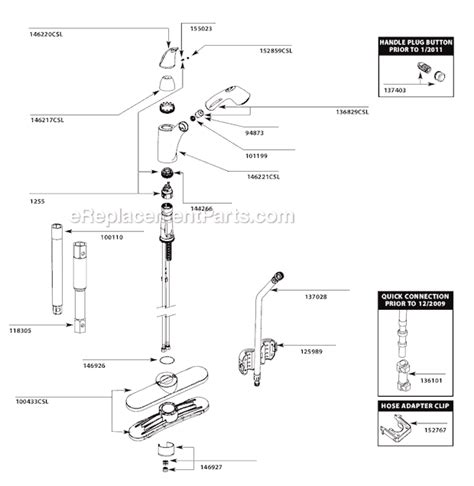 moen kitchen faucets parts diagram moen 7560csl parts list and diagram after 1 11 ereplacementparts com
