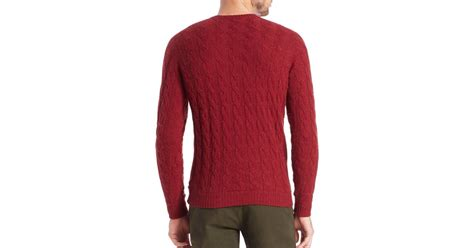 Slowear Camel Hair Cable-knit Sweater In Red For Men