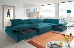 Brown And Aqua Living Room by Alpine Sectional Sofa Sleeper With Storage