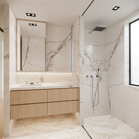 banheiro moderno  piso  paredes revestidos