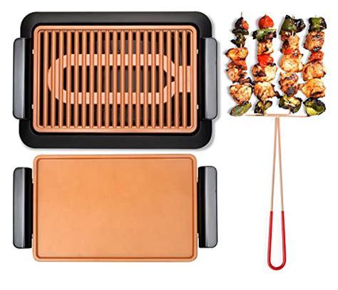 gotham steel smokeless electric grill griddle  pitchfork indoor bbq  nonstick