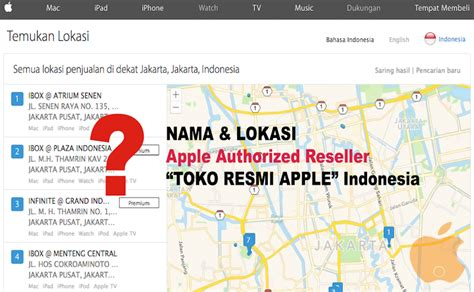 nama  lokasi lengkap apple reseller authorized