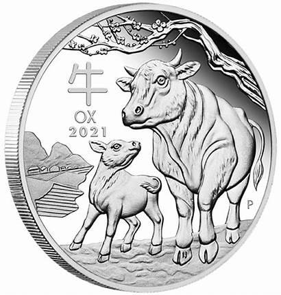 Oz Lunar Ochsen Silber Jahr Proof Coin