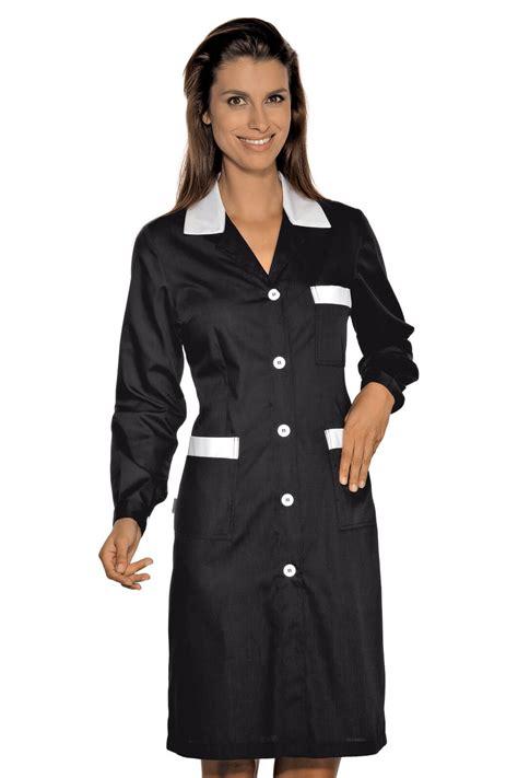 blouse femme de chambre hotellerie blouse de travail manches longues positano noir blanc