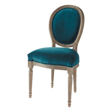 chaise medaillon en velours  chene massif bleu canard louis maisons du monde