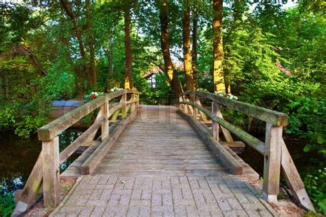 beautiful view   small wooden bridge   river