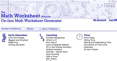 the math worksheet site