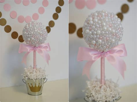 Crown Decor Centre by Pearl Centerpieces White Amp Pink Pearls Baptism Centerpiece