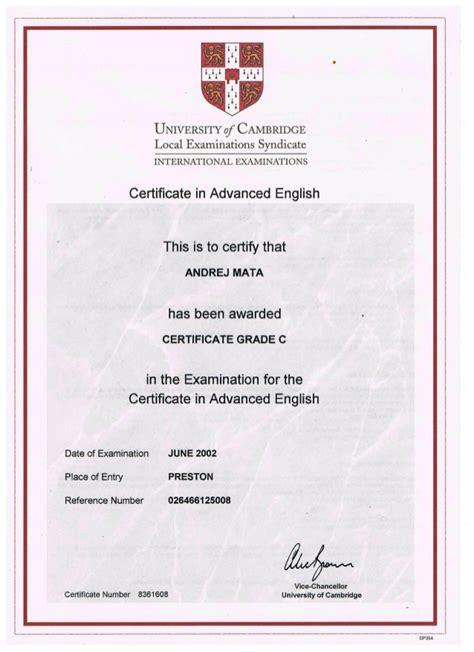 cambridge certificate  advanced english