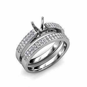 diamond double row bridal set with semi mount ring With semi mount wedding ring sets