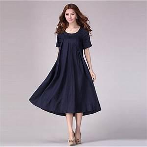 2016 printemps et en ete des femmes coton et lin robe With robe d été en lin