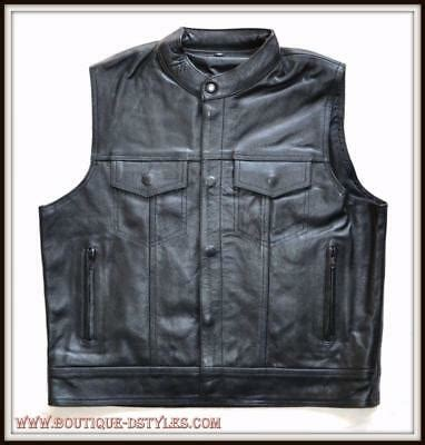 sons of anarchy weste weste jacket rindsleder mao kragen biker stil sons of