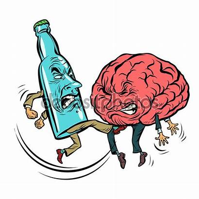 Brain Drunk Alcoholism Alcohol Vodka Cartoon Alkoholismus