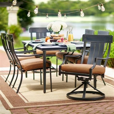 wonderful 7 patio dining set with swivel chairs