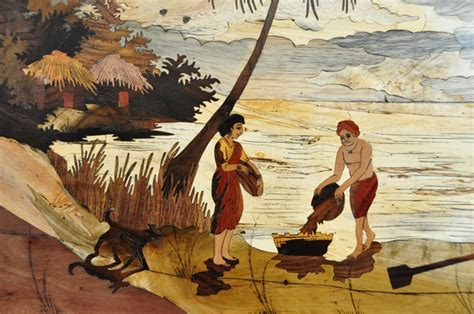 marquetry wood inlay artwork  india depicting