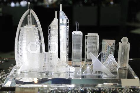 skyscrapers  dubai  souvenir shop stock photo