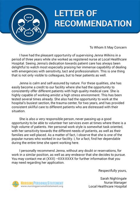 letter of recommendation for nursing school the world s catalog of ideas