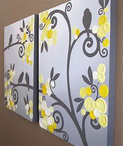 Wall art yellow grey flowers and birds textured acrylic for What kind of paint to use on kitchen cabinets for 3d wall art birds
