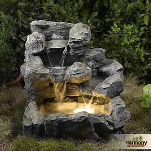 Stone Waterfall Fountain Outdoor Rock Water Feature Garden