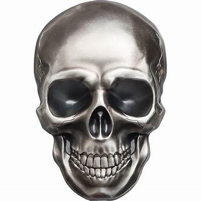 Skull Skeleton Silver Background Clipart Coin Skulls