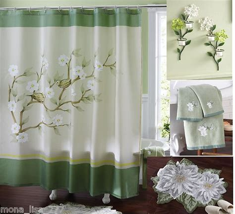 multi bath set green floral magnolia shower curtain
