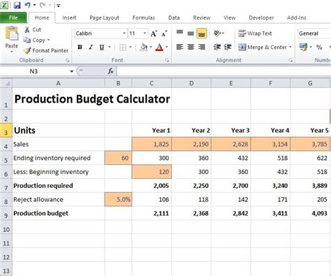 production budget calculator   business plan plan