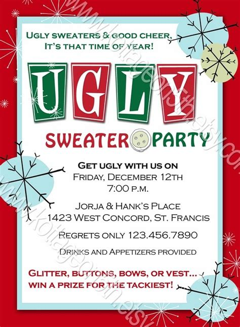 ugly sweater christmas party invitations wording best