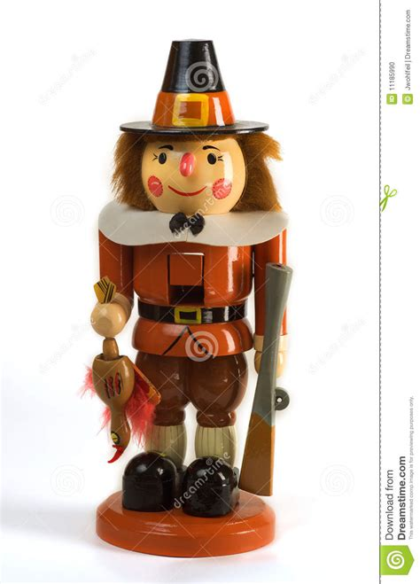 thanksgiving holiday pilgrim nutcracker stock photo