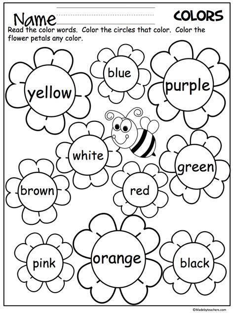 Flower Color Words Worksheet  My Future Classroom  Kindergarten, Kindergarten Worksheets
