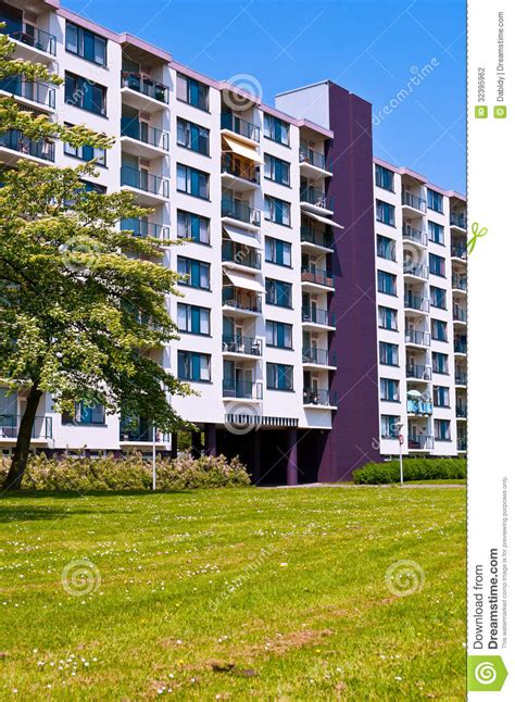 colorful modern apartment building stock photography