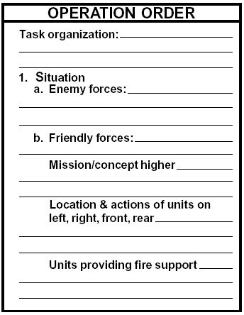 opord template plan operation order opord armystudyguide