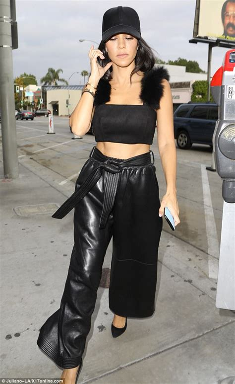 kardashian kourtney leather head toe abs down lady jonathan flashes trousers crop scroll cheban