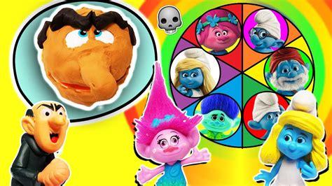 trolls smurfs spin  wheel game  playdoh drill  fill