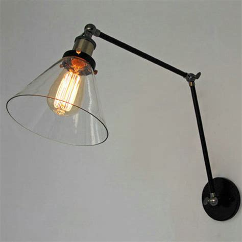 retro industrial lighting loft swing arm wall sconce home