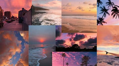 sunset aesthetic collage wallpaper in 2021 laptop