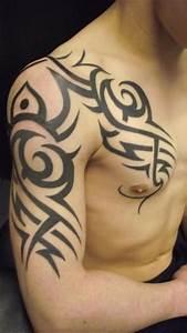 Shoulder Chest Tribal Tattoo by Paul Egan Tattoo