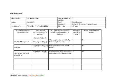 risk assessment template risk assessment template media