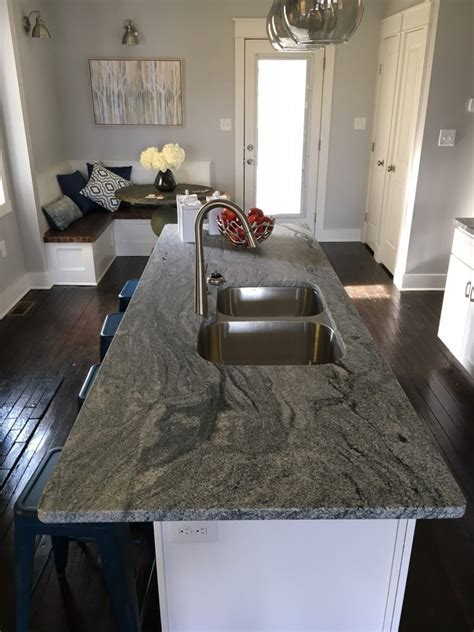 Viscont White Granite Kitchen Countertops, Leather Finish