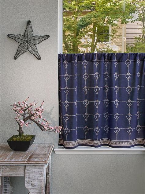 Oriental kitchen curtain, Navy Blue Kitchen tier curtains
