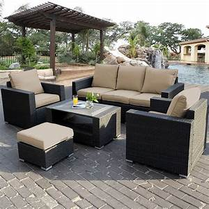 7pc outdoor patio patio sectional furniture pe wicker for Outdoor patio sets