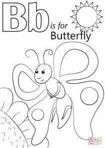 letter b is for butterfly coloring page free printable 176 | letter b is for butterfly coloring page