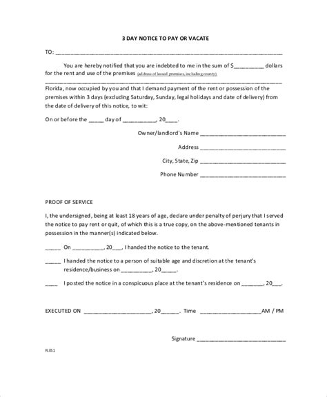 free 3 day notice form eviction notice 9 free word pdf documents download
