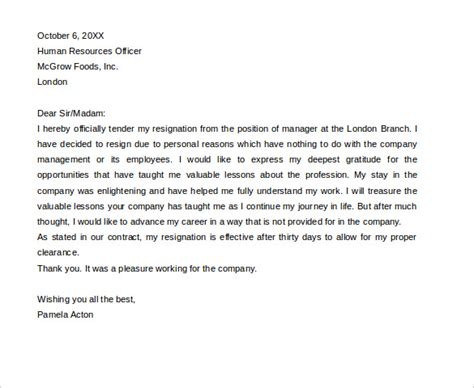 Simple Resignation Letter Sample Format