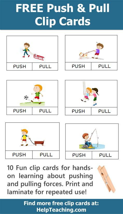 Push and pull strategies in practice. FREE Push and Pull Clip Card Printables for learning about forces. Clip cards make for great ...