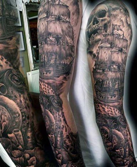 40 Nautical Sleeve Tattoos For Men  Seafaring Ink Deisgn