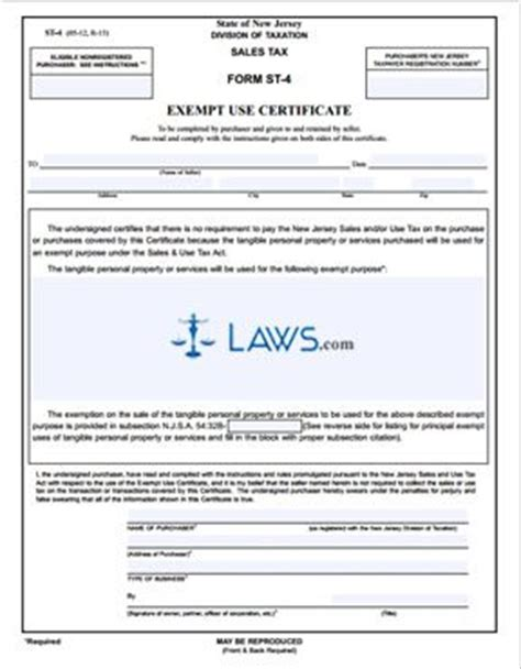 form st 4 exempt use certificate tax exemptions forms