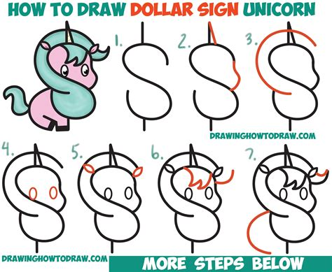 draw  cute cartoon unicorn kawaii   dollar