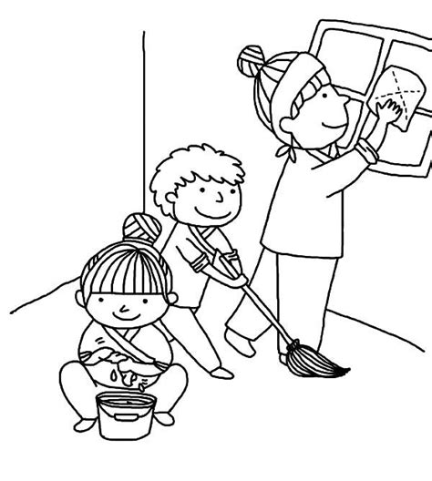 kindness  helping mother cleaning house coloring pages
